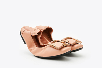 1626-6 Pink Classic Buckle Foldable Flats