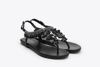 1833-8 Black Embellished T-Strap Sandals