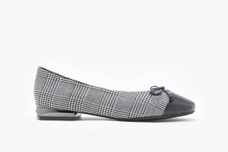 188-5A Black Plaid Bow Ballet Flats
