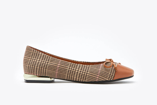 188-5A Brown Plaid Bow Ballet Flats