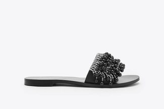 2639-6 Black Embellished Pearl Sandals