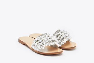 2639-6 Silver Embellished Pearl Sandals