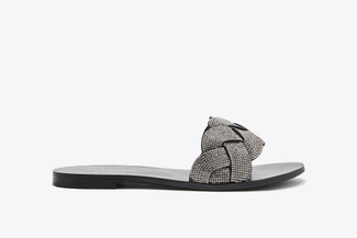 2639-8 Pewter Weaved Slide Sandals