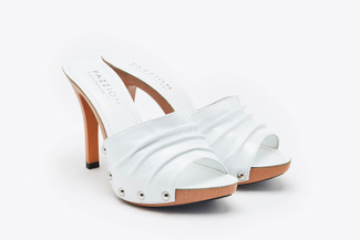3308-11 White Studded Mid Stiletto Sandals