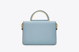 3723 Blue Dual Toned Boxy Handbag