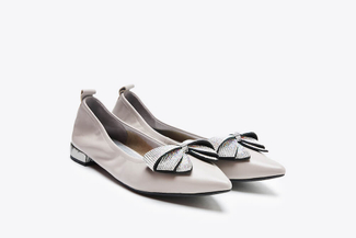 6137-1 Taupe Feminine Bow Low Heels