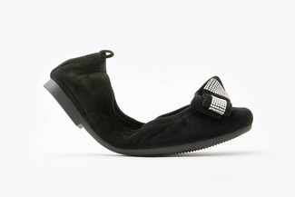 6608-1 Black Bejeweled Bow Foldable Flats
