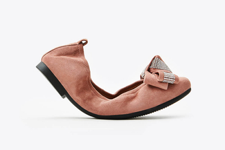 6608-1 Deep Pink Bejeweled Bow Foldable Flats