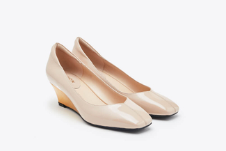 683-1 Almond Mirrored Wedge Heels