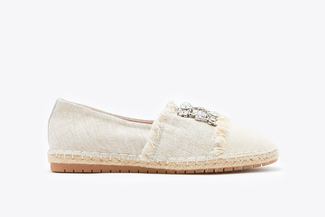 733-28 Almond Diamante Frayed Espadrilles