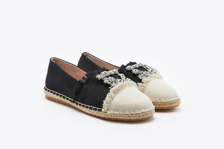 733-28 Black Diamante Frayed Espadrilles