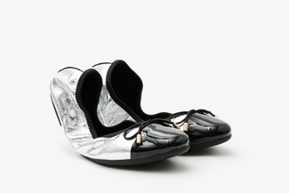 7601-1 Silver Ribbon Bow Foldable Flats
