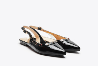 8082-1 Black Jeweled Slingback Flats