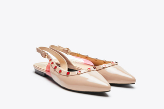 8082-1 Nude Jeweled Slingback Flats
