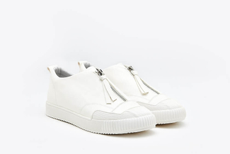 81-1A White Athleisure Zipped Sneakers
