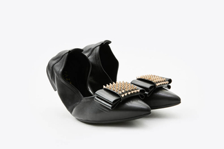 833-9 Black Spike Embellished Foldable Flats