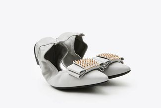 833-9 Grey Spike Embellished Foldable Flats