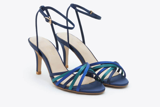 8351-20 Dark Blue Multicoloured Strap Heels