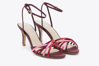 8351-20 Wine Multicoloured Strap Heels
