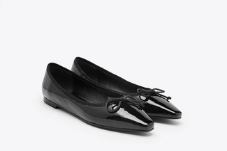 8728-13 Black Pointed Bow Flats