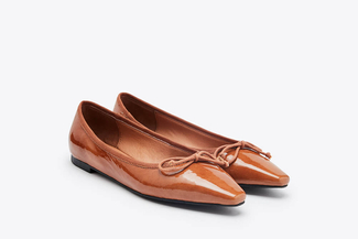 8728-13 Camel Pointed Bow Flats