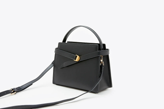 SB-D047 Black Goldtone Buckle Leather Handbag