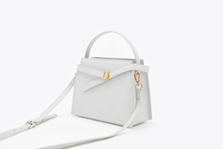 SB-D047 Grey Goldtone Buckle Leather Handbag