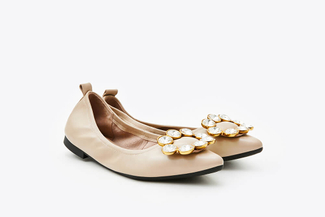0701-35 Almond Crystal Buckle Foldable Flats
