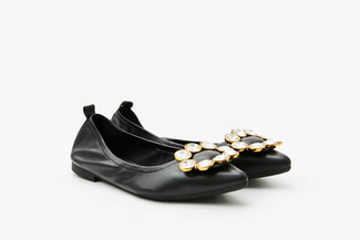 0701-35 Black Crystal Buckle Foldable Flats