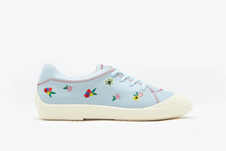 102-6 Blue Lace up Floral Sneakers