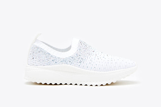 108-1A White Rhinestone Knit Slip-On Sneakers
