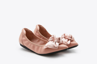 208-16 Pink Double Knotted Bow Flats