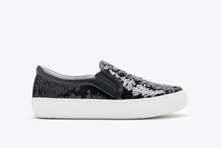 318-63 Black Sparkling Sequin Flatform Sneakers