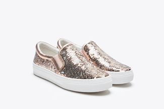 318-63 Champagne Sparkling Sequin Flatform Sneakers
