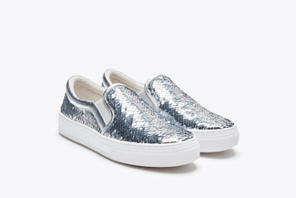 318-63 Silver Sparkling Sequin Flatform Sneakers