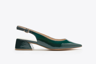 7018-08 Green Slingback Stacked Heels