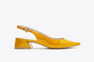 7018-08 Yellow Slingback Stacked Heels