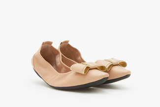 838-3A Almond Studded Bow Foldable Flats
