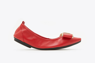 838-3A Red Studded Bow Foldable Flats