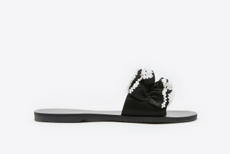 1444-17 Black Pearl Embellished Ruffled Leather Slides