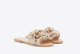 1444-17 Almond Pearl Embellished Ruffled Leather Slides