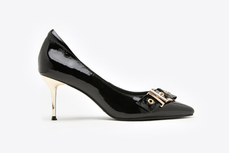 1898-3 Black Side Belt Buckle Patent Heels