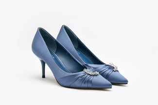 LT888-12 Blue Crystal Embellished Satin Pointy Mid Heels