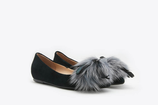 1036-1A Black Feathered Classic Suede Leather Flats