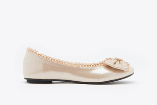 1299-1 Almond Crystal Bow Flats