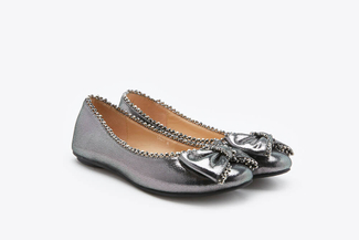1299-1 Pewter Crystal Bow Flats