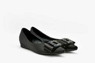 1819-1A Black Crystal Buckle Ribbon Pointy Toe Satin Flats