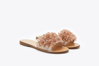 444-57 Almond Floral Embellished Sandals
