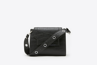 SE1211 Black Glossed Croc-Effect Leather Crossbody Shoulder Bag