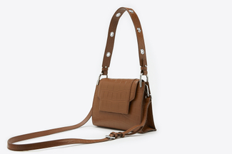 SE1211 Brown Glossed Croc-Effect Leather Crossbody Shoulder Bag